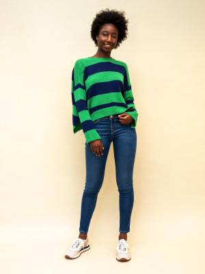 Marni gestreifter Pullover mit offenem Rücken in blau/grün