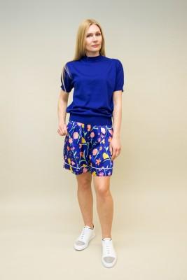Plan C Shorts mit floralem Muster blau
