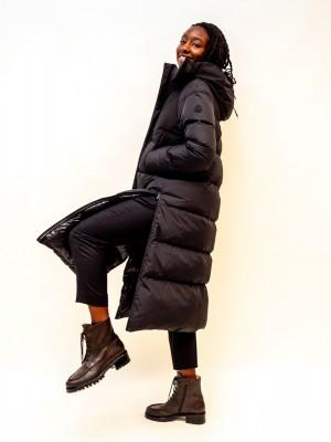 Moncler Mantel A-linien Schnitt knöchellang in schwarz