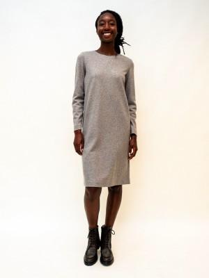 Fabiana Filippi Jersey Kleid mit Moulineausschnitt in grau