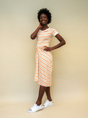 Marni Kleid beige orange gestreift mit geraffter Taille