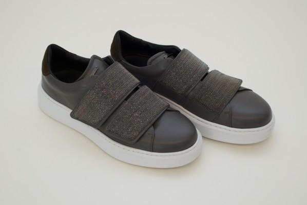 Fabiana Filippi braun-graue Sneaker mit klettverschluss