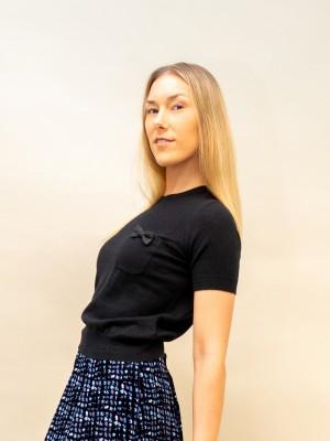 Elisabetta Franchi Pullover kurzarm mit kleiner Brusttasche und schleife in schwarz