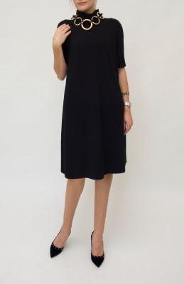 Emporio Armani ripp Kleid mit Rückenfalte in kräftigem schwarz