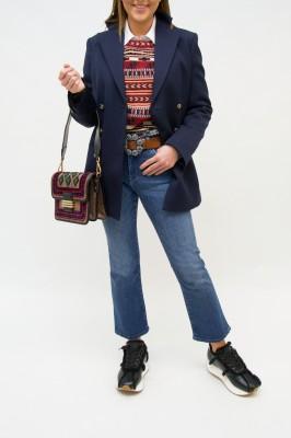 Etro Blazer doppelreihig in Nachtblau mit Kontrast Unterkragen