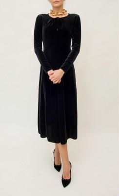 Emporio Armani Samkleid mit Schluppe am Kragen in kräftigem schwarz