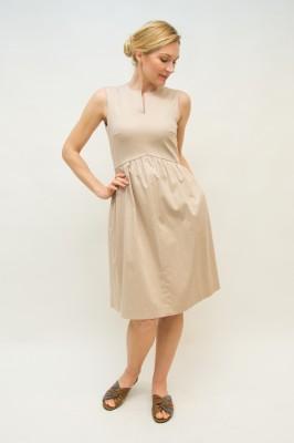 Sly010 Kleid ab Taille gerafft in zartem Beige