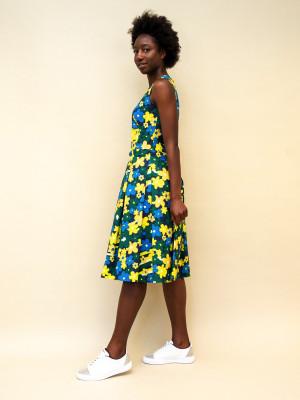 Marni Kleid aus Baumwoll-Popeline mit Rainbow Flower-Print