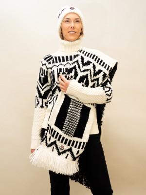 Moncler Schal mit Norwegermuster Materialmix in schwarz-weiß