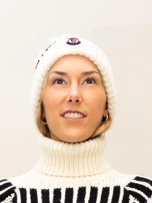 Moncler Mütze mit Norwegermuster Materialmix in schwarz-weiß