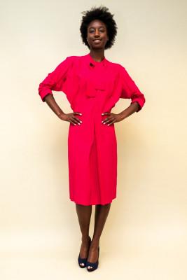 Marni Kreppkleid mit Satinrückseite in knalligem Pink