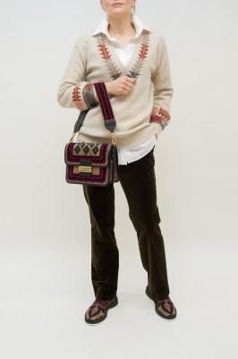 Etro Pullover mit Aztekenmuster am Ausschnitt in créme