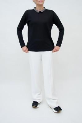 Fabiana Filippi schwarzer Cashmere&Seiden Pullover mit Moulinekragen