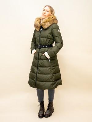 Moncler Daunen Mantel mit Fellkapuze und Taillen Gürtel in angesagtem khaki