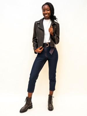 Maison Common Jeans high waist mit Gürtel mit kupfer absteppungen