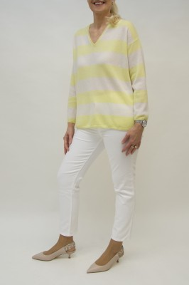 Bruno Manetti Cashmere Pullover längsgestreift in gelb