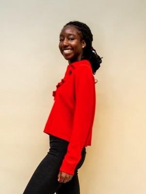 Philosophy Pullover mit Rüschchenausschnitt und Kragen in rot
