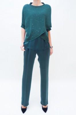 Fabiana Filippi Seidenhose in leuchtendem smaragdgrün