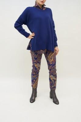 Etro Hose royal blau mit allover Paisley Muster