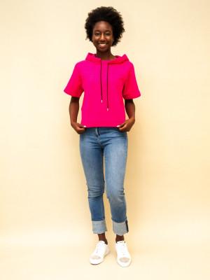 Marni kurzarm Hoodie mit aufgesticktem Logo in leuchtendem magenta-pink