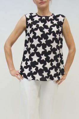 Maison Common Seidenbluse mit Sternenprint in schwarz-weiß