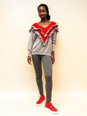 Philosophy Pullover mit zweireihigem Rüschchen in rot und grau