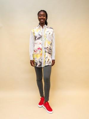 Etro Seiden Hemdbluse mit patchwork Muster hinten gestreift