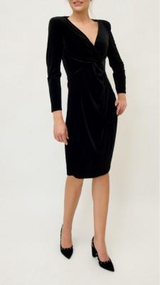 Emporio Armani Samtkleid mit Raffung seitlich in kräftigem schwarz