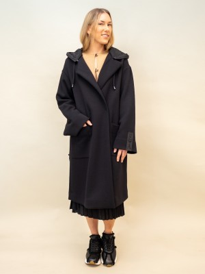 Emporio Armani oversize Mantel mit Kapuze in schwarz aus scuba