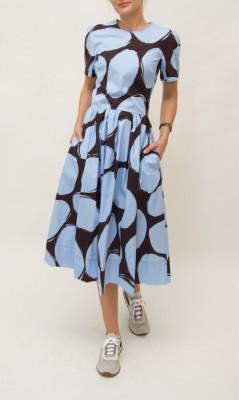 Marni hellblau-braun gemustertes Kleid