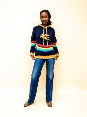 Etro Strick Sweatshirt mit Kapuze in blau und Regenbogenstreifen