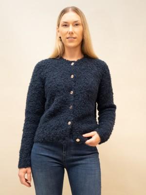 Elisabetta Franchi Cardigan aus Bouclé mit Rundhalsausschnitt in nachtblau