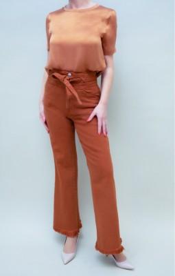J.Brand Paperbag Jeans mit Gürtel in leuchtendem braun-goldton